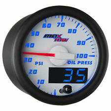 MaxTow 52mm White & Blue Double Vision Oil Pressure Gauge - MT-WBDV04