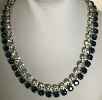 Swarovski Swan Signed Hot Montana Collar Blue Clear Crystals Statement Necklace