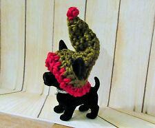 BLACK CHIHUAHUA DOG in Winter Hat folk art hand crocheted ooak miniature doll