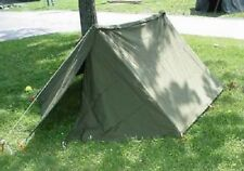 "US Military USGI Shelter Half Tent ""Pup"" Kit w/ 2 Halves, Poles, Stakes, Ropes"