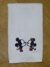 Embroidered Mickey & Minnie  white cotton Fingertip Towel bathroom or Kitchen