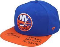 """Mathew Barzal Islanders Signed Blue Cap & """"1st Hat Trick 12/23/17"""" Insc - LE 13"""