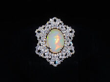 Certified Natural 8Cts VS F Diamond Opal 750 18K Solid Gold Cocktail Dinner Ring