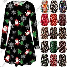 UK Womens Girls Kids Santa Snowflake Xmas Christmas Party Swing Dress Plus Size