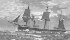 CHILE. Magellan Strait. HMS Doterel, blown up , antique print, 1881