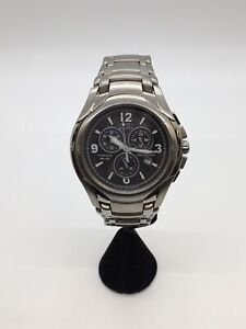 Citizen Vintage Eco Drive Titanium Chronograph WR100 Stainless Steel Black Dial