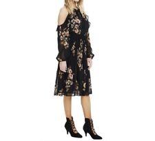Anthropologie ASTR Womens Size Large Floral Black Motif Cold Shoulder Dress NWT