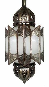 Authentic Moroccan HAND MADE  Hanging Lantern Carved Frosted white Glass Lamp