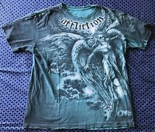 Affliction Mens Size Medium Crew Neck Distressed T-shirt Angel Wings
