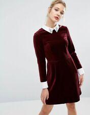 TED BAKER velvet crystal embellished collar A-line flare shirt dress party 3 12