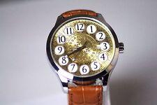 Damen Herren Uhr Automatik Armbanduhr Analog Lederband Blatgold Restposten NEU
