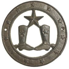 Cast Iron Texas the LONE STAR & WESTERN BOOTS Wall Plaque Round Country Man Cave