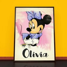 MINNIE MOUSE Personalised Poster A4 Print Wall Art Banner Any Name Fast Delivery