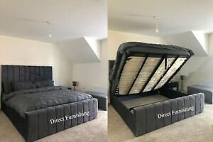Stylish Plush Velvet Panel Storage Bed, Ottoman Storage Bed All Colours & Sizes