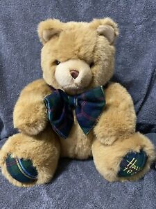 Harrods Knightsbridge Teddy Bear Plush 1994 Christmas Vintage Collectible Plaid