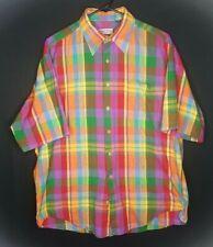 Bullock & Jones Mens Large Rainbow Plaid Short Sleeve Button Down Shirt Euc