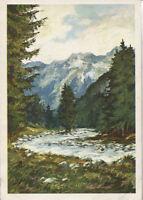 Alte Kunstpostkarte - Hübsche Gebirgslandschaft