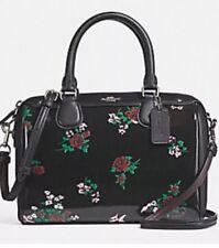 NWT Coach F25856 Mini Bennett Satchel Cross Stitch Floral Print Patent Leather