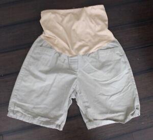 Gap Maternity Beige Khaki Boyfriend Roll-up Full Panel Casual Chino Shorts Sz 8
