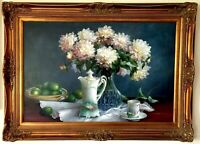 VINTAGE MID-CENTURY STILL LIFE OIL PAINTING - ANTIQUE CHINA FLOWERS FRUIT