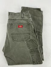 Dickies Mens Carpenter Denim Jeans 34x30 Army Green Straight Leg Regular Fit