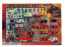 Metro Police Force & Fire Rescue Emergency Crew 44 Piece Mini Toy Diecast Vehicl