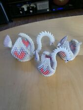 Hand-made White Pink 3D Origami Swan Set Lot