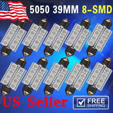 10X Blue 39mm 5050 8SMD Festoon Dome Map Interior LED Light bulbs DE3423 6418 US