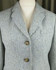 MaxMara Weekend Wool Grey Blue Herringbone Ladies Trouser Suit Size 12