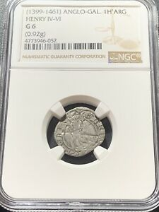 ANGLO-GALLIC. Henry IV-VI. 1399-1461. AR Hardi d'argent, NGC G6