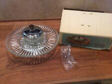 Kromex Lazy Susan Glass Chrome Model# 3098-21 Original Box