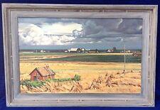 """Vintage Landscape """"Swedish Farm"""" Signed John Wedekind Dated 1967 El Monte CA"""