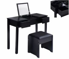 Makeup Vanity Table Set With Mirror And Stool Bedroom Dressing Table Desk Black