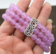 Natural 3 rows 8mm Purple jade Beads Stretch Tibetan silver Gems Bracelet 7.5''