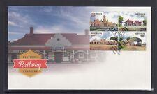AUSTRALIA 2013 HISTORIC RAILWAY STATIONS Design set block of 4 on FDC