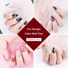 30 PCS Mix Pre Designed Full Cover False Nail Tips With Sticker Glue File Kit