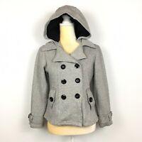 Sebby Womens S Light Gray Double Breasted Hooded Pea Coat Jacket Career Work