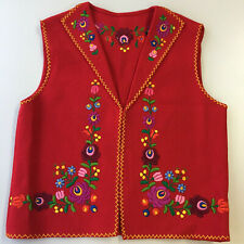 Woman's Vest Matyo Embroidered Flowers Wool Vintage Handmade Hungary Red M