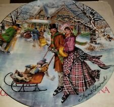 1990 Dominion China Mint Stewart Sherwood Plate - Skating On The Pond    K-1#9dr