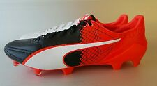 PUMA evoSPEED SL 2 Leather FG Men's Soccer/Futbol Cleats, size 10.5, Wht/Red/Blk