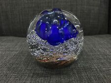 Glass Art Paperweight Floating Blue Flower Shimmery Sand Contemporary