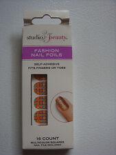 "Studio 35 Beauty 16 Pairs Self-Adhesive ""Squares"" Fashion Nail Foils Appliques"
