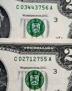 1976 $2 LOT OF 2 SHIFT ERROR SEALS & SERIAL NUMBERS SHIFT UP
