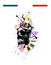 Tatouage Graphique Tête de mort, rose, horloge
