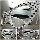 VINTAGE RETRO CAT EYE Style Clear Lens EYE GLASSES White & Black Polka Dot Frame