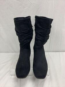 Comfortview Aneela Wide Width Calf Boot Black Suede Look Size 12 WW New No Box