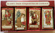 Punch Studio Christmas Gift Tags set of 12 Santa Dimensional Glitter Scrapbook