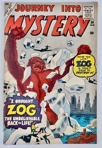 1960 Marvel Comic Book Journey Into Mystery #56 Zog Stan Lee Kirby Ditko VG+