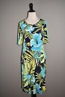 SUSAN GRAVER NEW $65 Printed Liquid Knit Elbow Sleeve Dress Pockets Blue Small