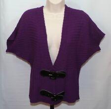 Allison Brittney Womens Cardigan Sweater Size L Purple Loose Knit Buckles S/S